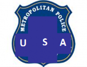 "Blue shield that reads ""Metropolitan Police USA"" in white"