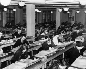 Source: the National Archives and New Deal Network. WPA workers indexing and preserving census records, New York City, October 1936.