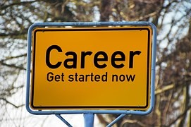 "Sign that reads ""Career Get Started Now"""