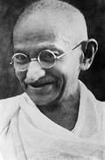 Black and white headshot of Gandhi