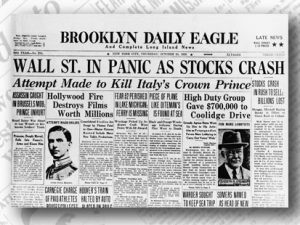 "Image of newspaper called the ""Brooklyn Daily Eagle"" with headline 'Wall St. in Panic as Tocks Crash"""