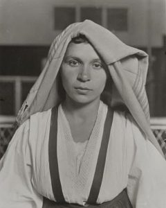 Black and white photo of Albanian woman