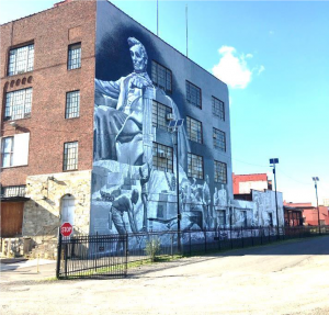 "Photograph of Garin Baker's ""28 Blocks"" mural."