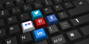 computer keyboard with social media keys