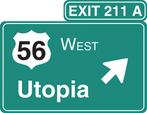 """Exit road sign that reads """"Utopia"""""""